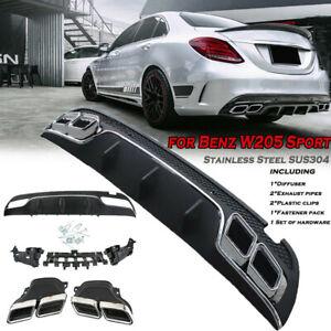 Rear-Bumper-Diffuser-Muffler-Exhaust-Tip-Fit-for-Benz-W205-C63-AMG-2015-2017