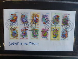 2007-AUSTRALIA-SIGNS-OF-THE-ZODIAC-SET-12-STAMPS-FDC-FIRST-DAY-COVER