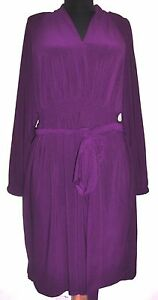 M-by-Marc-Bouwer-Purple-Empire-Smock-Waist-Knit-Dress-w-Tie-Belt-S-NWOT