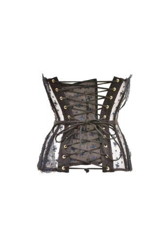 corsetto in Provocateur Rrp Bcf89 nero 440 pizzo Elegante lucido Agent imbottito donna £ 6x00H