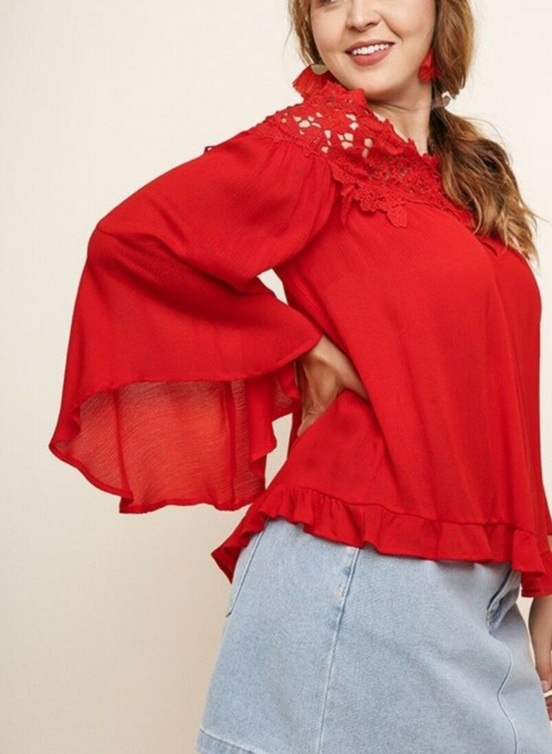 2XL Plus Size Red Off the Shoulder Crochet Trim Top with 3 4 sleeves USA Size