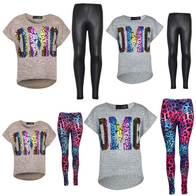 A2Z 4 Kids/® Kids Girls OMG Print T Shirt Top /& Wet Look Leopard Legging Outfit Set Age 7 8 9 10 11 12 13 Years