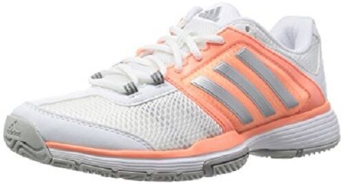ADIDAS BARRICADE TEAM TENNIS SNEAKERS WOMEN SHOES WHITE PINK F6217 SIZE 9.5 NEW