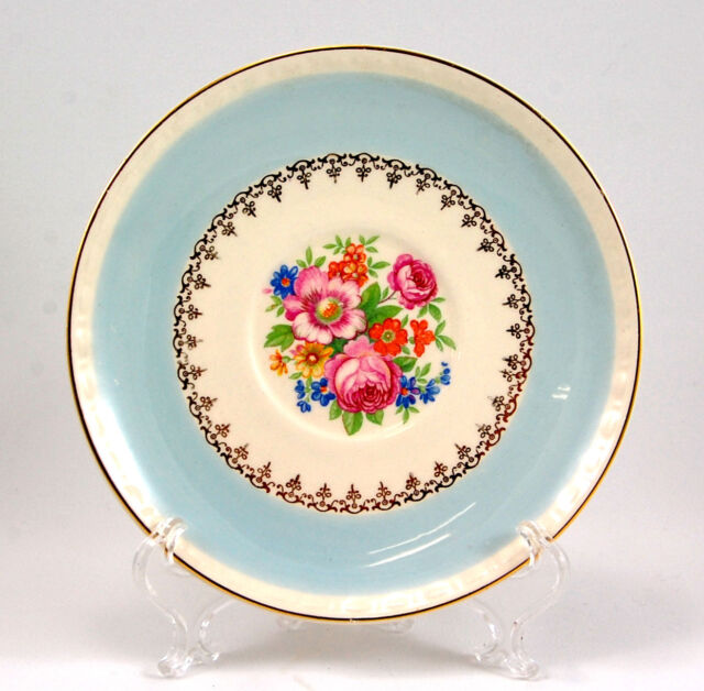 Homer Laughlin HLC223 Saucer Only 6 in. Eggshell Georgian Light Blue Rim Floral