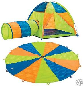 Image is loading Pacific-Play-Tents-Now-and-Then-Tent-Tunnel-  sc 1 st  eBay & Pacific Play Tents Now and Then Tent Tunnel and Parachute Set ...