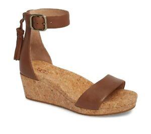 9734d8178eae Ugg Brand Women s Ankle Strap + Tassels Brown Zoe Wedge Sandal Heels ...