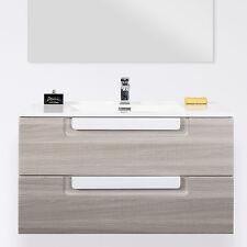 Mobile bagno 80 cm con 2 cassetti e lavabo design moderno sospeso effetto legno