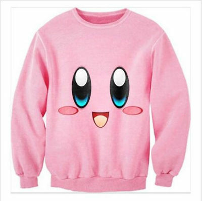 Funny 3D Print Pink Sweatshirt Casual Pullover Graphic Kirby lovely Top Jumper 6