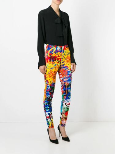 AW15 Moschino Couture X Jeremy Scott Multi-Colored Graffiti High Rise Pants