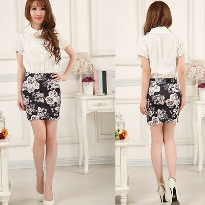 Fashion Women High Waist A-Line Skirts Floral Short Mini Dress Pencil Skirt
