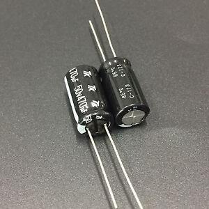 4.7 mfd 50V Set of 10 20/% Rad Nichicon 105°C Electrolytic Capacitor 4.7uF 50V