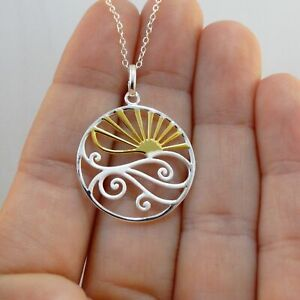 *NEW* Beach Ocean Nautical Jewelry 925 Sterling Silver Ocean Waves Necklace