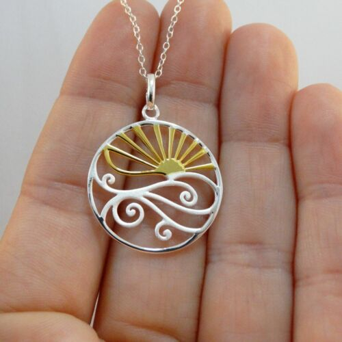 Ocean Waves Sunset Necklace 925 Sterling Silver Sun Beach Nautical Pendant NEW