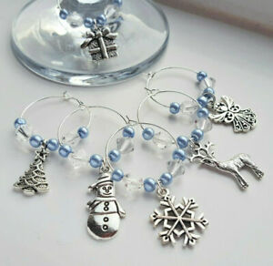 Beautiful-Set-of-6-Sparkling-Christmas-Wine-Glass-Charms-Icy-Blue-Elegance