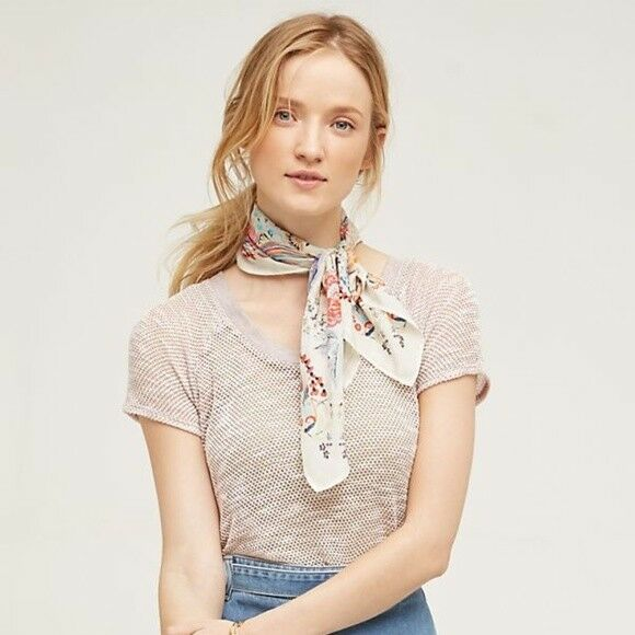 Anthropologie Eri + Ali Maida Tee mesh open knit top shirt sz small swing