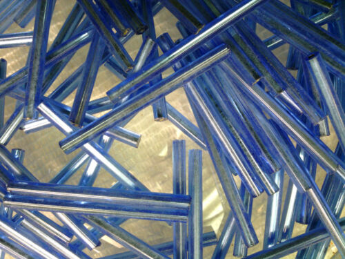 VTG 500 MILITARY BLUE SILVER LINE 30mm BUGLE BEADS FRINGE ORNAMENTS #121811f