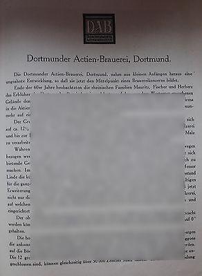 Zielsetzung Dab Dortmunder Actien Brauerei 9,5 Seiten Historie Von 1926 Werbung Bildbericht Modische Und Attraktive Pakete Reklame & Werbung