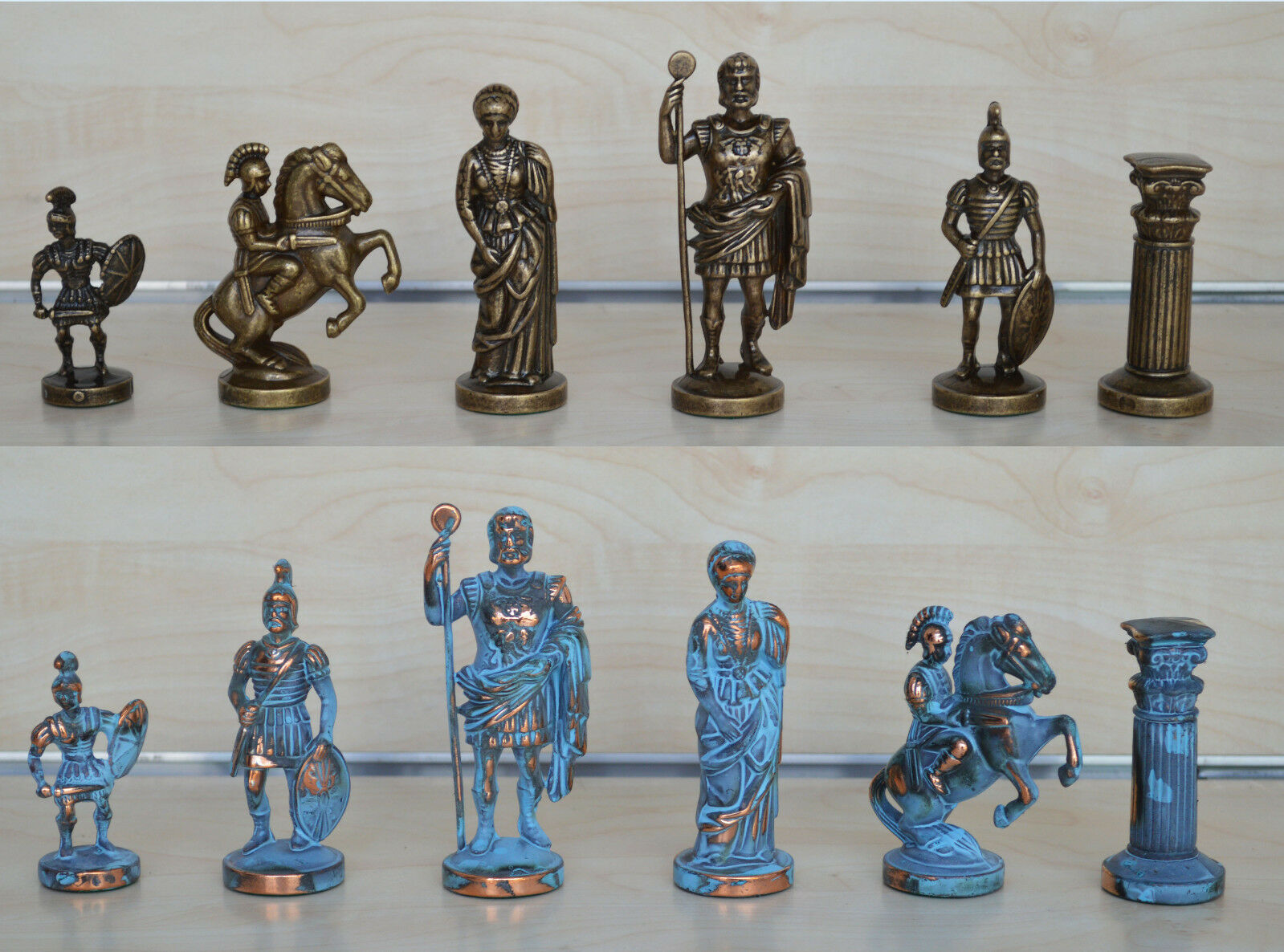 Manopoulos Romans Chess Set - bluee-Copper - Handmade in Greece