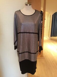 Latte-Dress-Size-14-BNWT-Black-Pewter-Sequin-Layered-RRP-185-Now-74