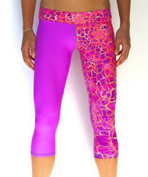 Mahiku Ali Kini Capri Sport Legging Purple orange Geo Activewear Hawaii NWT XS L
