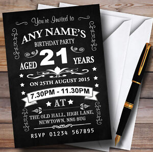 Image Is Loading Chalkboard Black And White 21St Birthday Party Personalised