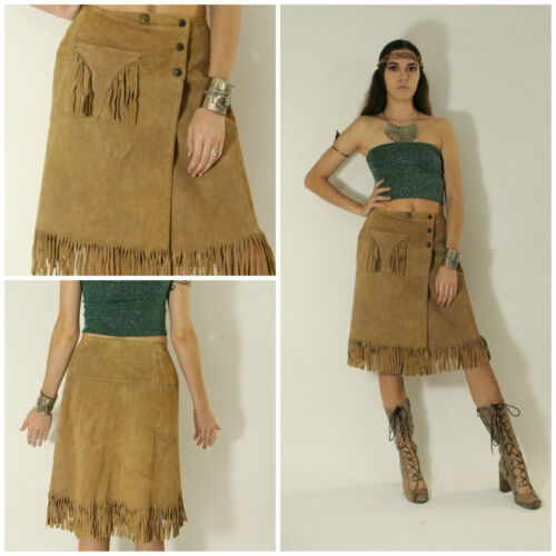 VTG 60's Indian Real SUEDE LEATHER Fringe HIPPY PR