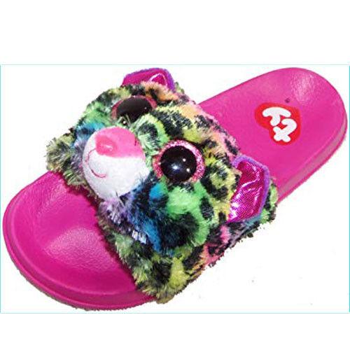 New Ty Beanie Baby Boos Slides Sandal Flip Flops Dotty Leopard Sz 4-5 Slipper