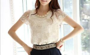 C088-Elegant-Ladies-Clothes-Casual-Beading-Chiffon-Lace-Flowers-Summer-Slim-Tops