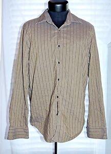 da560760b NWOT Grey Striped Hugo Boss L Dress Button Down Shirt Classic Casual ...