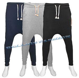 Pantalone-Tuta-Uomo-Cavallo-Basso-Cotone-Elastico-Slim-Fit-S-M-L-XL-XXL