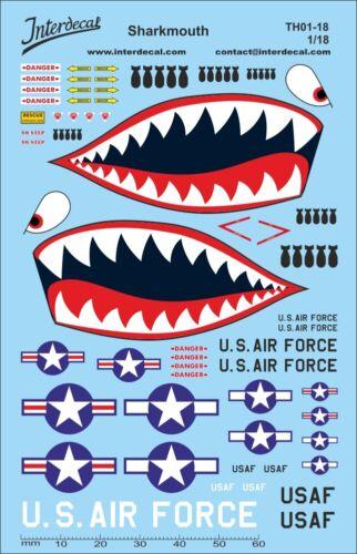 Sharkmouth decal us air force streetracing 1//18 naßschieber estampado th01-18