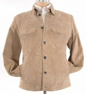 Ajmone-NWT-Shirt-Jacket-In-100-Lamb-Suede-Leather-Tan-Tortora-Size-52-Large