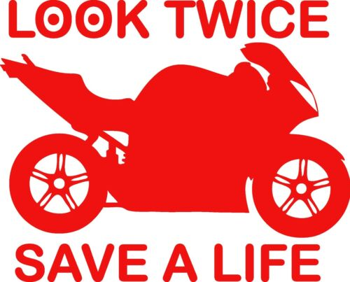 Look Twice Save a Life Motorcycle Decal Vinyl Sticker Window Bumper Car Truck