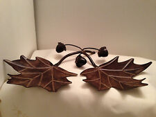 Metal Oak Acorn Leaves Candy Dish Holder Antiqued Collectible Decoration Plaque