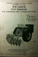 Sears Suburban Custom Garden Tractor 3-point, Plow, Disc Owner Parts (3 Manuals)