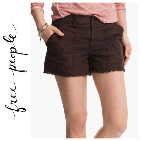 Free People brown cut off denim look cargo shorts
