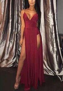 Deep-Red-Slinky-Thigh-High-Split-Detail-Silky-Maxi-Dress-Size-UK-14-Brand-New
