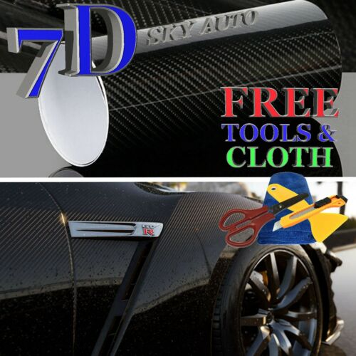 7D Black High GLOSSY Carbon Fiber Vinyl Wrap Sheet With Air Release 5ft X 5ft