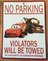 Disney Parks Pixar Cars Lightning Mcqueen Mater No Parking Metal Wall Sign