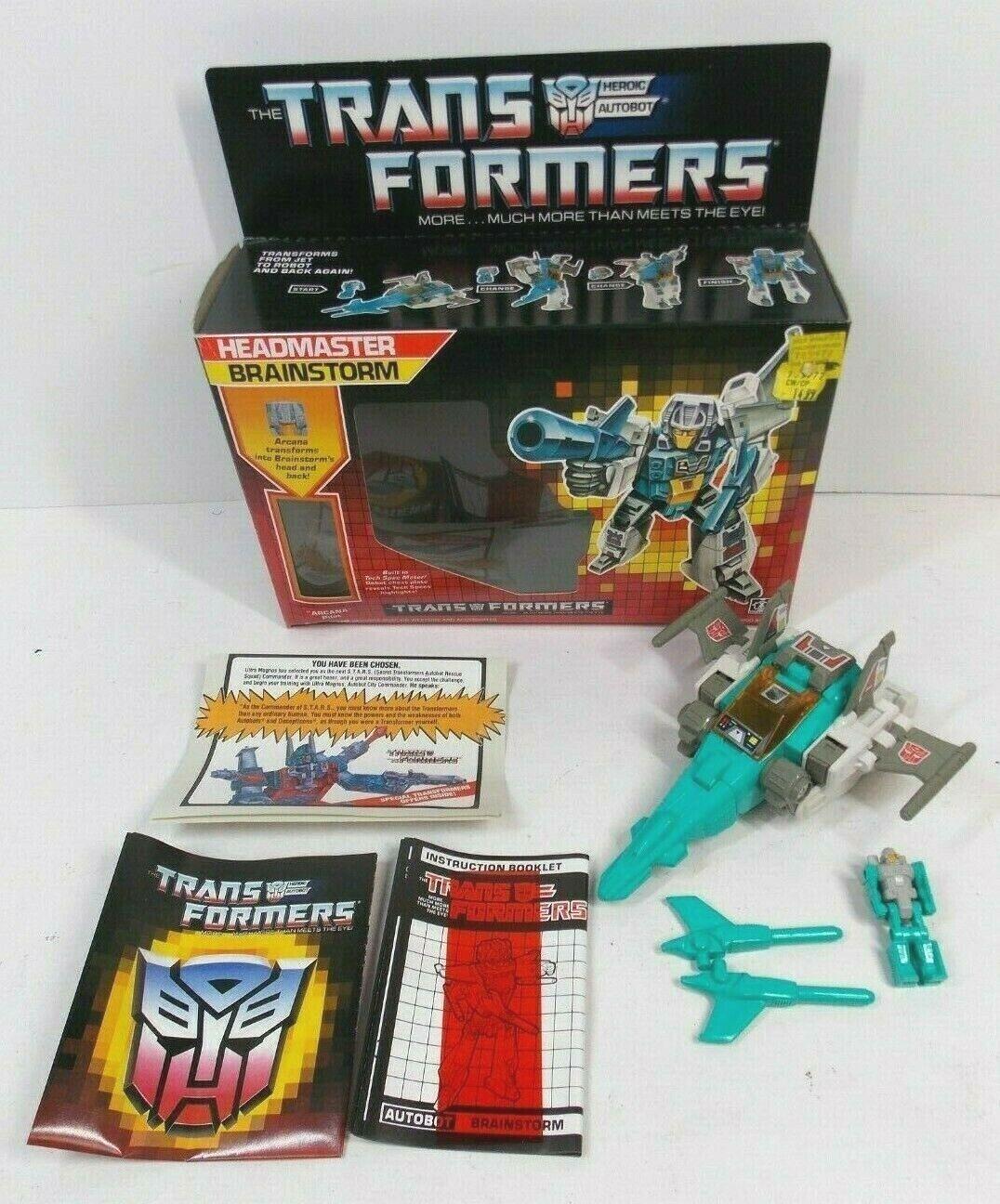 TRANSFORMERS G1 HEADMASTER BRAINSTORM COMPLETE W BOX & PAPERWORK 1987 HASBRO