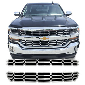 2pc Abs Chrome Overlay Grille Grill Fits 2016 2018 Chevy Silverado
