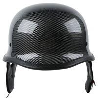 Dot Carbon Fiber Wwii German Style Motorcycle Cruiser Half Helmet Biker M/l/xl