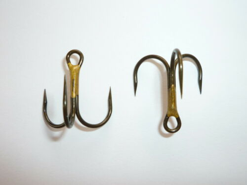"BRONZE Size 4 100 Eagle Claw Lazer /""BARBLESS/"" Short-Shank 3X Treble hooks"
