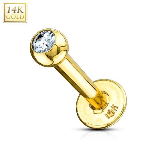 Ball Satz ein Strasssteine Piercing Labret Gold 14K Echt