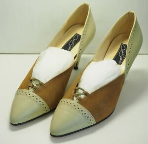 Ladies-Leather-and-suede-look-Court-Shoes-in-beige-and-tan-brown-Size-8