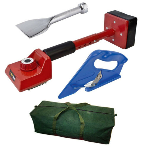 4 pc Tapis Fitting Tool Kit-Rouge Genou Kicker/traversin/Cutter/Toile Sac