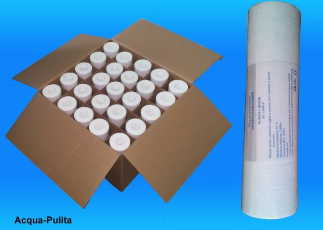 """25 Filtri Sedimenti 10"""" da 1 Micron per Depuratore Acqua (Sigillati) Stock"""