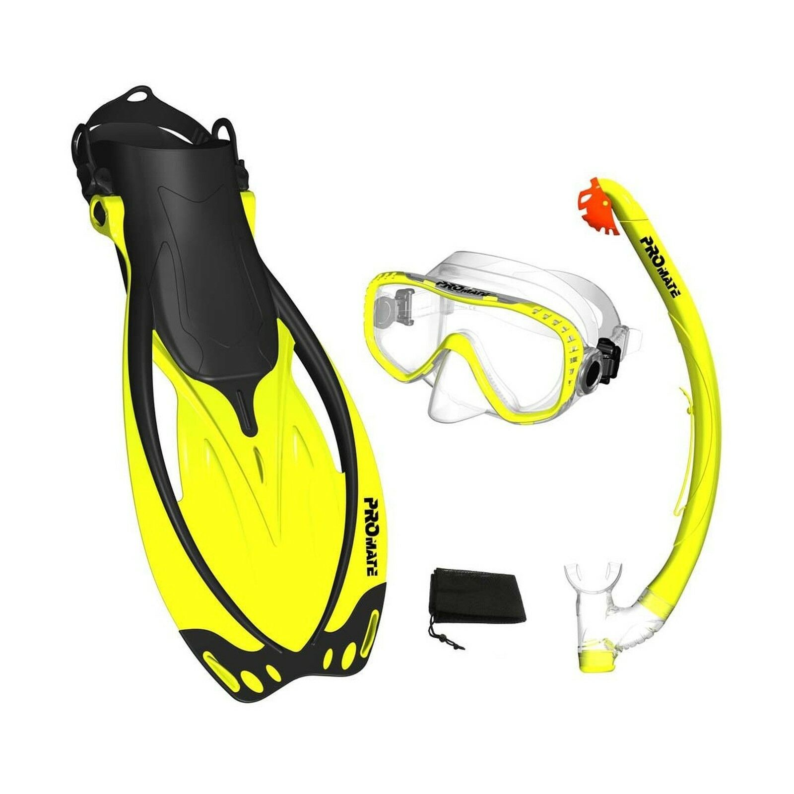 PROMATE Snorkeling Mask Fins DRY Snorkel Set Gear Bag Yellow SM... Free Shipping