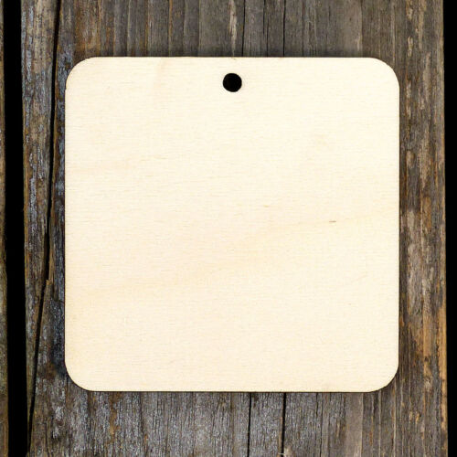 10x Wooden Square Rounded Corners Craft Shape 3mm Plywood Geometric