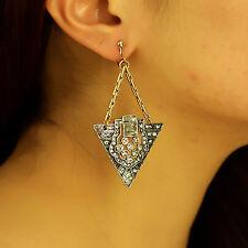 Boucles d`Oreilles Clips Art Deco Argenté Pendant Triangle Chaine Doré Retro A13